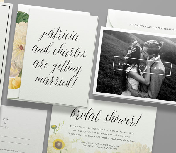 botanical calligraphy wedding invitation