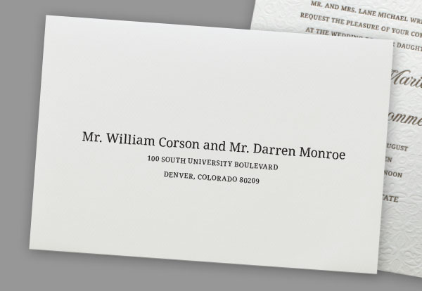 "addressing wedding invitations to dating couples Q: what is the appropriate way of addressing an envelope to married couples i have always thought that using, ""mr & mrs john doe was correct."