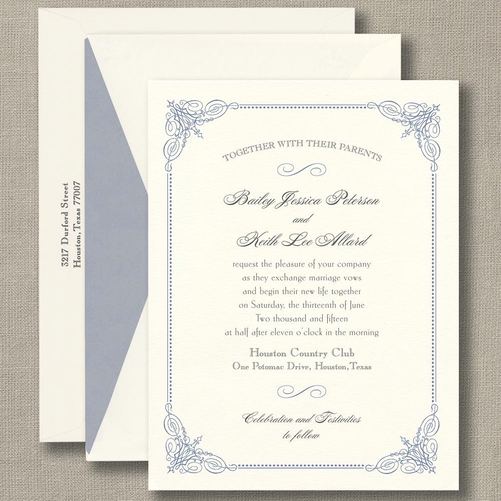 French Blue Vintage Frame Warm White Wedding Invitations