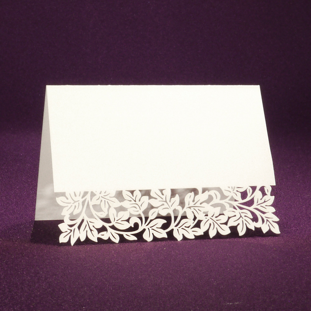 Laser Cut Place Card - Clara White | 25 Blank Place Cards
